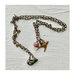 """Boho Minimalist Bird Copper Dainty Necklace 18"""""""